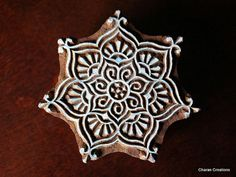 Hand Carved Indian Wood Textile Stamp Block- Round Floral Motif