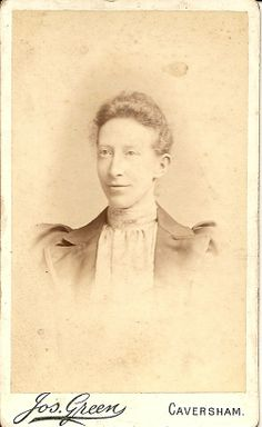 19.Nice looking Lady.Photographer Joseph Green & Son, Caversham/Reading. In 1871 Joseph was married to 2nd wife Emma (1st wife Sarah died) he was Upholsterer,in 1881 a PHotographer,1891 a PH & Son - Alfred & Daughters Alice & Sarah all assistants,1901/1911 Alfred married,still PH & Joseph still PH in 1901,but 1911 age 79 a widower Joseph living with Sister Elizabeth & is a furniture restorer.He died 1915.