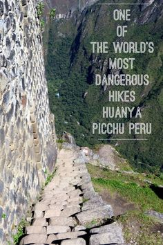 Towering above Machu Picchu Peru is the iconic peak of Huayna Picchu, also called Wayna Picchu. On many most dangerous hikes in the world lists, the narrow steep stone paths are not for the faint of heart. Photos of Huayna Pcihu and tips for doing this adventurous hike are included.