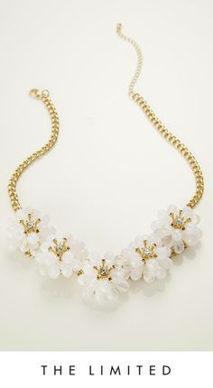White + Gold = Stunning.  #New #Necklaces #TheLimited #StatementNecklaces #LuciteJewelry #WhiteGold #Swoon THELIMITED.com