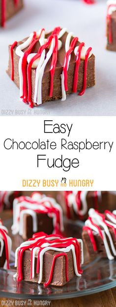 Easy Chocolate Raspberry Fudge - Smooth, creamy chocolate fudge recipe with the sweet and fruity taste of raspberries, and so easy to make! Best Fudge Recipe, Fudge Recipes, Best Dessert Recipes, Candy Recipes, Easy Desserts, Sweet Recipes, Delicious Desserts, Snack Recipes, Chocolate Fudge