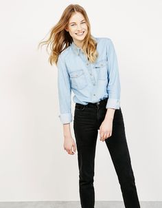 Denim pocket top. Discover this and many more items in Bershka with new products…