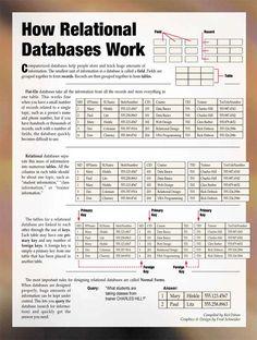 Basic description of relational database structure. Computer Coding, Computer Basics, Computer Technology, Learn Programming, Computer Programming, Sql Commands, Database Structure, Networking Basics, Visual Analytics
