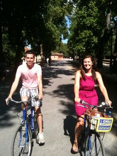 riding bikes in lucca, italy