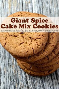 These giant low-fat spice cake mix cookies bake up spicy, sweet and chewy - chilling the dough before baking makes them easy to roll. Spice Cake Mix Recipes, Cake Mix Desserts, Easy Cupcake Recipes, Fall Dessert Recipes, Cookie Desserts, Easy Desserts, Spice Cookies, Cake Mix Cookies, Yummy Cookies