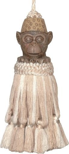 Tassel Monkey Natural White Pair Polyrayon Casted Resin Head New Hand-Pai JK-204