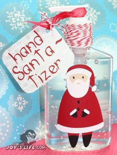 Hand Santa-tizer - This is actually vinyl, but it's a cute idea if you want to dress up a bottle (provided you can get the label off).