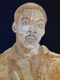 Eddie Murphy portrait handmade with rice straw Dried by museumshop