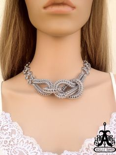 Knotted Chain Maille Statement Necklace, Catrina M. $255.00, via Etsy.