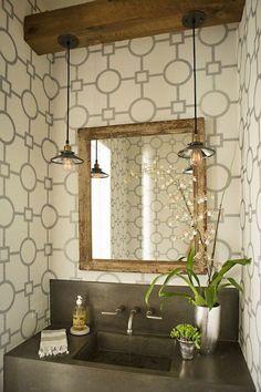 Eric Olsen Design - bathrooms - Union Square Wallpaper, geometric wallpaper, phillip jeffries wallpaper, powder room, wood beams, powder roo...
