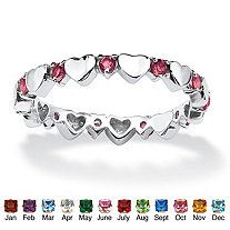 Round Birthstone Sterling Silver Heart Eternity Band Stack Ring
