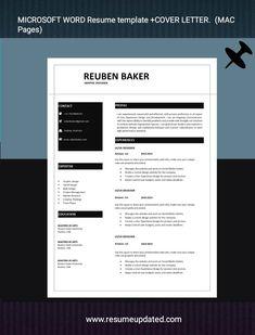 Cv Design, Resume Design, Cover Letter For Resume, Cover Letter Design, Professional Resume, Microsoft Word Resume Template, Modern Resume, Templates, Lettering