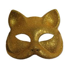 Glitter Cat Masquerade Mask In Gold | Simply Party Supplies