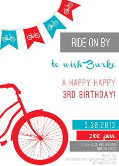 printable invitations- RIDE ON BY bicycle birthday party or baby shower on Etsy, $15.00