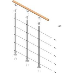 DOLLE Rome Gray Prefinished Balcony Rail Kit at Lowe's. The Rome landing banister is ideal for balcony areas and is designed to be used in conjunction with the Rome modular stair kit. Landing banister comes in Stair Railing Kits, Steel Stair Railing, Loft Railing, Stair Kits, Wood Handrail, Steel Stairs, Staircase Railings, Balcony Railing, Railing Design