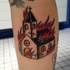 Burning church tattoo by Fran , Hotdog Tattoo, Spain