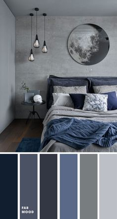 Grey and Dark blue Bedroom Color Scheme , Grey bedroom color ideas. these bedroom room color schemes will take your space to your next level. color schemes for couples Grey and Dark blue Bedroom Color Scheme , Grey bedroom color ideas Blue Bedroom Colors, Room Color Schemes, Black Room Decor, Bedroom Design, Bedroom Colour Palette, Grey Bedroom Colors, Dark Blue Bedrooms, Simple Bedroom, Bedroom Color Schemes