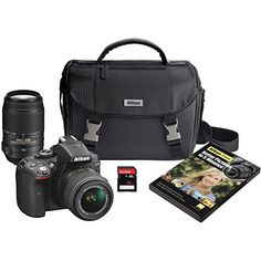 Nikon D5300 DX-format Digital SLR Kit w/ 18-55mm VR II and 55-300mm VR Lens Kit (Black) ** Read more reviews of the product by visiting the link on the image.