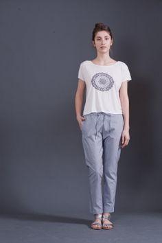 Blue striped pants   Adelina Ivan Studio