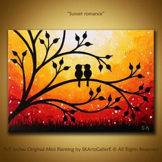 Love birds painting Original sunset art Canvas Yellow orange painting birds on tree orange sunset art Whimsical wall art Love valentine – Malerei Easy Canvas Art, Simple Canvas Paintings, Small Canvas Art, Mini Canvas Art, Easy Art, Small Art, Love Birds Painting, Orange Painting, Painting Art