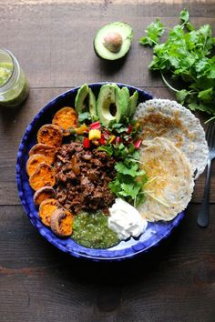 Sloppy Jane Tex Mex bowls - Take out the weird pancakes, add more veggies and maybe sub brown rice?  LOVE the salsa verde idea