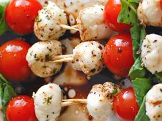 Tomato and mozzarella salad skewers appetizer