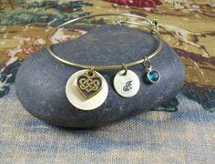Celtic knot  Heart Initial charm bracelet  Custom  by KLFStudio