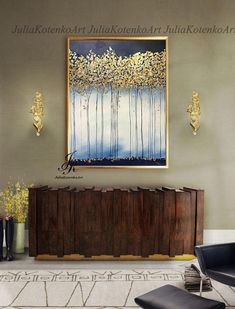 Large Abstract Oil Painting Gold Leaf Art Trees Gold Painting Wall Decor Modern Art Original Painting Abstract Painting by Julia Kotenko