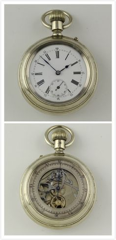 Skeletonized pocket watch chronograph with double dial Swiss 1890 montre gousset