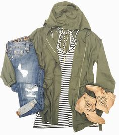 """We can't get enough s t r i p e s for SPRING // #shophoitytoity Olive hooded Cargo Bomber Jacket $50 V neck hi/lol striped tank $32 NEW """"Cali"""" Bootie $150  Shop in stores or CALL  to order. WE SHIP! 360.716.2982"""