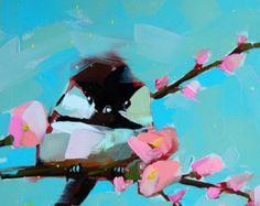 Chickadee no. 520 Bird Art Print by Angela Moulton 8 x 8 inch prattcreekart