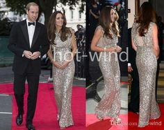 2014 Kate Middleton in Jenny Packham Dress Silver Sequined Evening/Celebrity Red Carpet Dresses Cap Sleeves Floor Length Sheath Gowns B08AB7