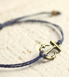 Tiny Bronze Anchor Cord Bracelet