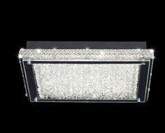 Plafón de techo cuadrado mediano 39 cm Led CRYSTAL 4571 MANTRA  Design by Hugo Tejada.  • Material de la estructura en cristal / cromo.  • Incluye 1 LED x 21W     Flujo lumínico de 1995 lm   • Medida:  Largo x ancho 39 cm.    Altura 7,2 cm. Plafón muy plano.