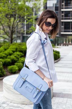 Joules Leather Satchel, light blue