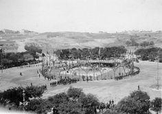 Antiga Praça Marquês de Pombal. Cerimonia de lançamento da primeira pedra na construção do Monumento ao Marques de Pombal em 12 de Agosto de 1917. (2)