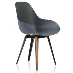 Slice Dimple Closed chair zwart - walnoot - grijs - Kubikoff