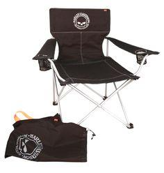 HDG-22015 - Harley-Davidson® Willie G Skull Big Boy Chair with Bag Black - Barnett Harley-Davidson®
