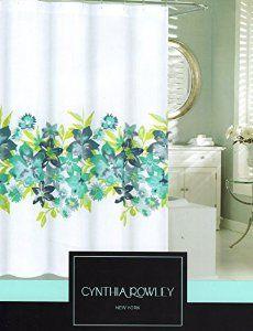 Free Spirit DRAGONFLY FLOWERS Aqua Green Lavender Fabric Shower ...