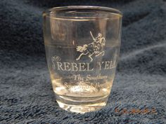 "REBEL YELL! SOUR MASH BOURBON SHOT GLASS! 2 1/2"" TALL! PRE-OWNED & USED! AS IS!"
