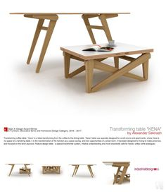 Table Furniture, Cool Furniture, Modern Furniture, Furniture Design, Furniture Ideas, Coffee Table Convert To Dining Table, Dining Table Design, Folding Coffee Table, Convertible Coffee Table