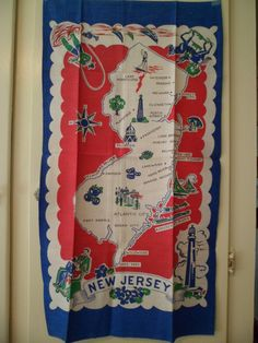 Vintage 1950's New Jersey State Souvenir Kitchen Tea Dish Towel Table Runner Unused by PleasantDaysVintage on Etsy