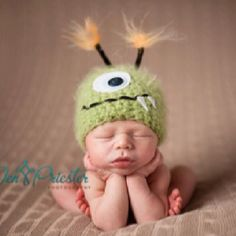 Green Monster Newborn Baby Hat, Photography Prop From etsy.com