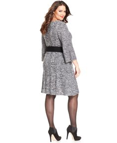 Style&co. Plus Size Three-Quarter-Sleeve Belted Sweater Dress - Plus Size Dresses - Plus Sizes - Macy's
