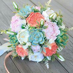 Wedding bouquet, clay bouquet, succulent bouquet, roses, peony, coral bouquet