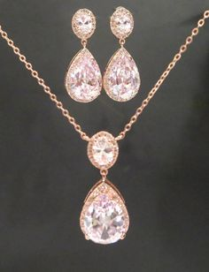 This lovely jewelry set I created using luxury cubic zirconia components that come in three finishes, Rose Gold, 18K Yellow Gold and Rhodium plated.