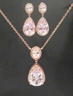 Rose Gold Hochzeit Schmuck SET Rose Gold Halskette von treasures570