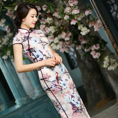 S M L XL XXL Size In Stock Slit Side Style Cheongsam Long Tang suit Qipao Chinese Oriental Dresses Traditional Dress Vintage2015