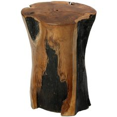 Bare Decor Hourglass Artisan Accent Solid Teak Wood Tree Stump End Table ($230) found on Polyvore featuring home, furniture, tables, accent tables, stump side table, teakwood furniture, stump furniture, teak end table and teakwood table