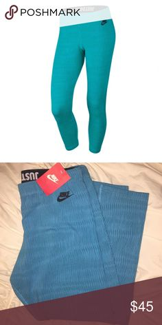 NWT Nike Capris NWT Nike Capris. Size Large. It's just above the ankle. Cotton/Polyester. Tiffany blue-ish with vertical navy thin stripes. OFFERS ARE WELCOMED. 🙂 Nike Pants
